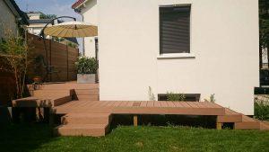 Aménagement terrasse, terrasse en bois, Bouix Paysage, Paysagiste, Paysagiste Breton, Paysagiste Morbihan